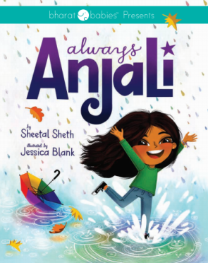 book cover of smiling anjali dancing in rain with rainbow umbrella